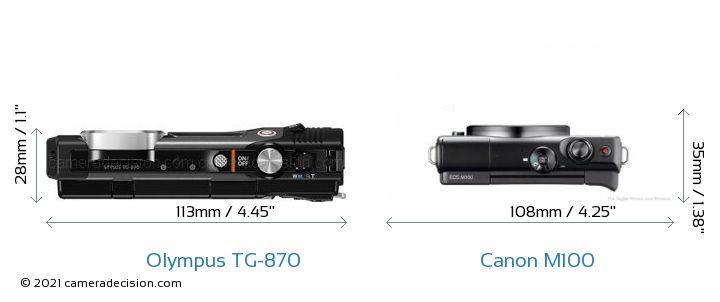 Olympus TG-870 vs Canon M100 Camera Size Comparison - Top View