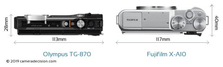 Olympus TG-870 vs Fujifilm X-A10 Camera Size Comparison - Top View