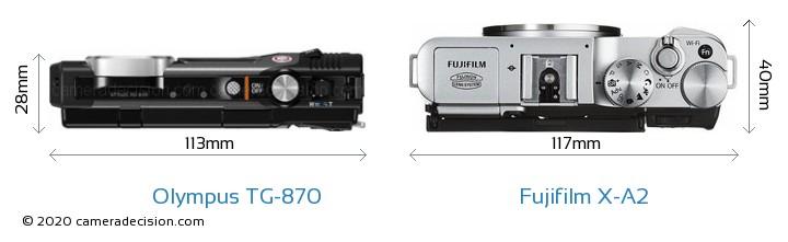 Olympus TG-870 vs Fujifilm X-A2 Camera Size Comparison - Top View