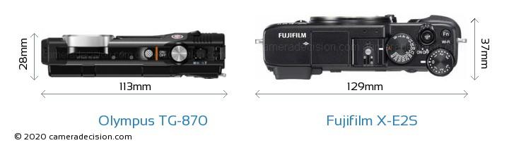 Olympus TG-870 vs Fujifilm X-E2S Camera Size Comparison - Top View