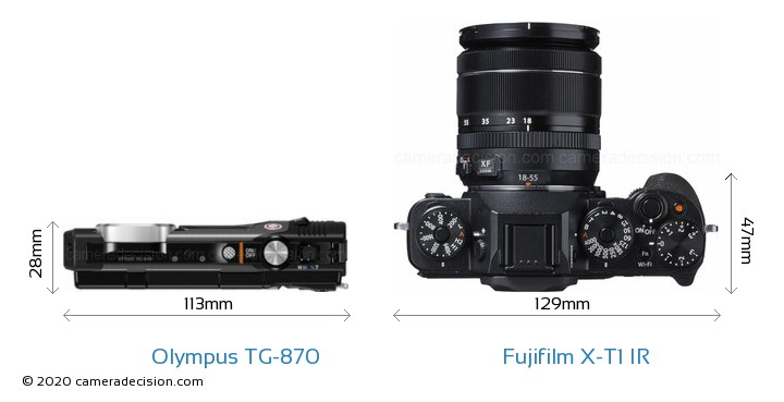 Olympus TG-870 vs Fujifilm X-T1 IR Camera Size Comparison - Top View