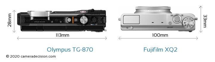 Olympus TG-870 vs Fujifilm XQ2 Camera Size Comparison - Top View