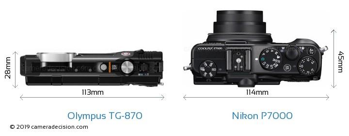 Olympus TG-870 vs Nikon P7000 Camera Size Comparison - Top View