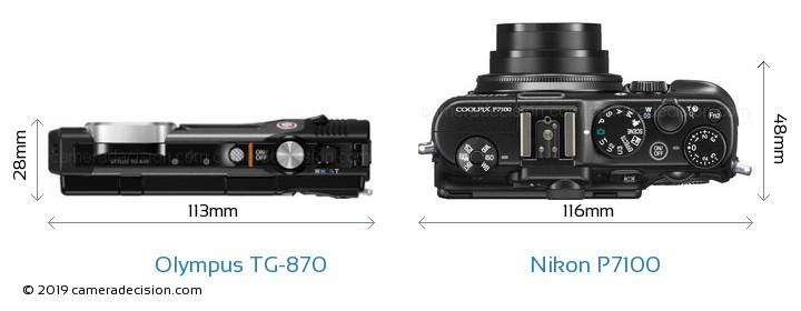 Olympus TG-870 vs Nikon P7100 Camera Size Comparison - Top View