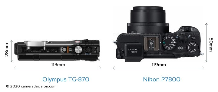 Olympus TG-870 vs Nikon P7800 Camera Size Comparison - Top View