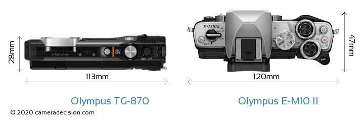 Olympus TG-870 vs Olympus E-M10 II Camera Size Comparison - Top View