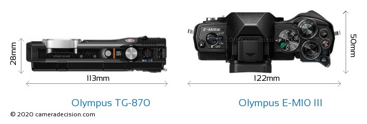 Olympus TG-870 vs Olympus E-M10 MIII Camera Size Comparison - Top View