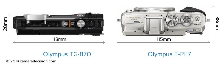 Olympus TG-870 vs Olympus E-PL7 Camera Size Comparison - Top View