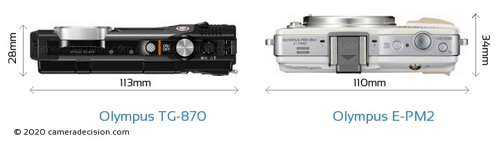 Olympus TG-870 vs Olympus E-PM2 Camera Size Comparison - Top View