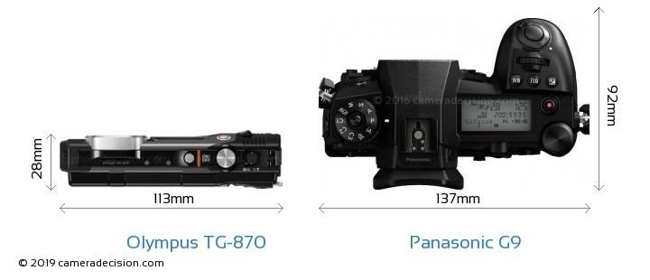 Olympus TG-870 vs Panasonic G9 Camera Size Comparison - Top View
