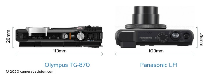 Olympus TG-870 vs Panasonic LF1 Camera Size Comparison - Top View
