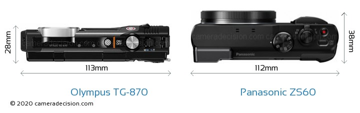 Olympus TG-870 vs Panasonic ZS60 Camera Size Comparison - Top View