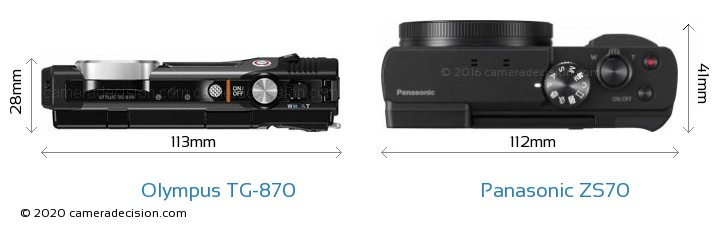 Olympus TG-870 vs Panasonic ZS70 Camera Size Comparison - Top View