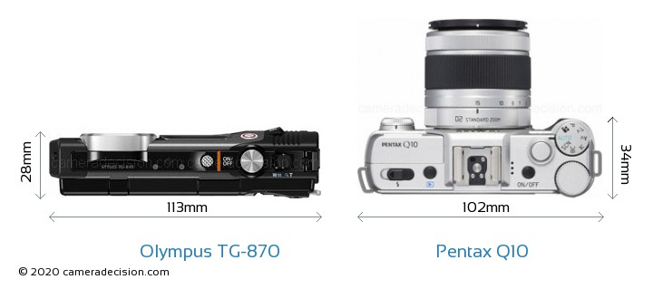 Olympus TG-870 vs Pentax Q10 Camera Size Comparison - Top View
