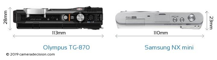 Olympus TG-870 vs Samsung NX mini Camera Size Comparison - Top View
