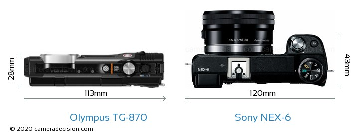 Olympus TG-870 vs Sony NEX-6 Camera Size Comparison - Top View