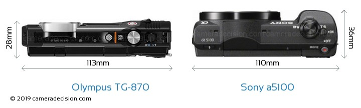 Olympus TG-870 vs Sony a5100 Camera Size Comparison - Top View