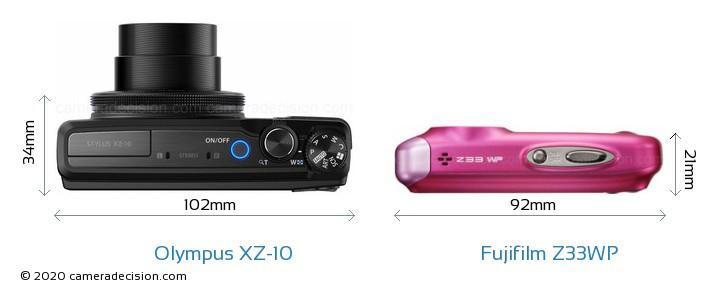 Olympus XZ-10 vs Fujifilm Z33WP Camera Size Comparison - Top View