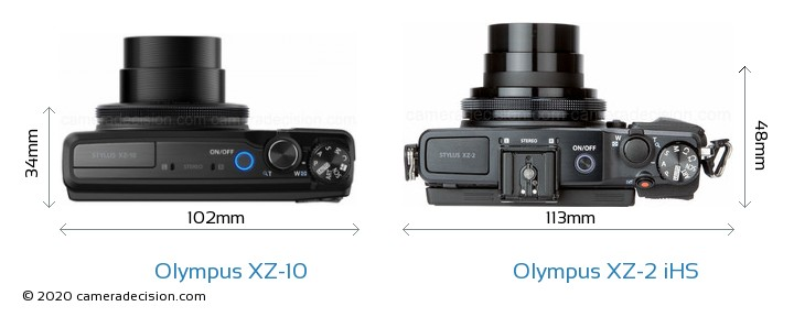 Olympus XZ-10 vs Olympus XZ-2 iHS Camera Size Comparison - Top View