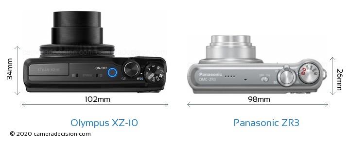 Olympus XZ-10 vs Panasonic ZR3 Camera Size Comparison - Top View