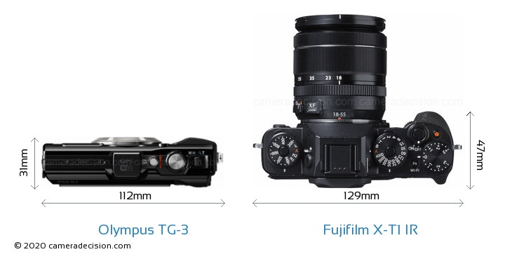 Olympus TG-3 vs Fujifilm X-T1 IR Camera Size Comparison - Top View