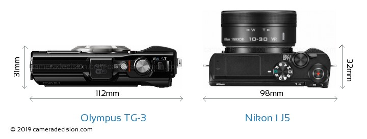 Olympus TG-3 vs Nikon 1 J5 Camera Size Comparison - Top View