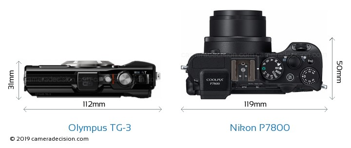 Olympus TG-3 vs Nikon P7800 Camera Size Comparison - Top View
