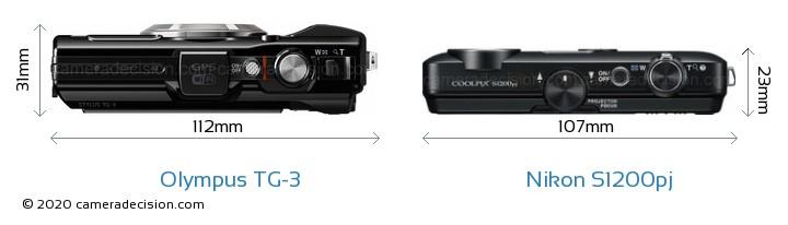 Olympus TG-3 vs Nikon S1200pj Camera Size Comparison - Top View