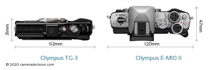 Olympus TG-3 vs Olympus E-M10 II Camera Size Comparison - Top View
