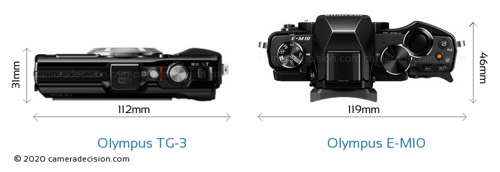 Olympus TG-3 vs Olympus E-M10 Camera Size Comparison - Top View
