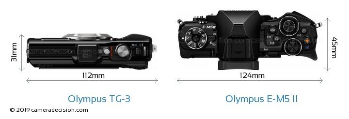 Olympus TG-3 vs Olympus E-M5 II Camera Size Comparison - Top View