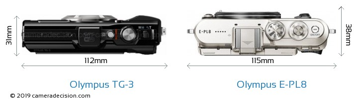 Olympus TG-3 vs Olympus E-PL8 Camera Size Comparison - Top View