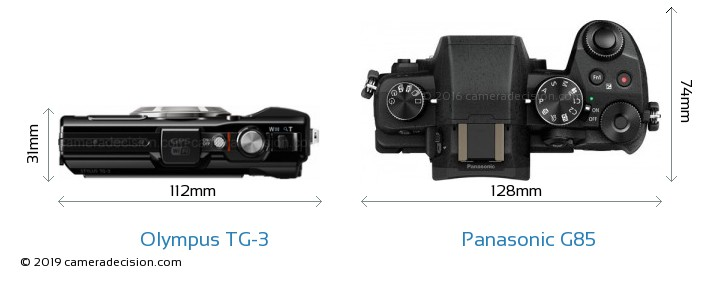Olympus TG-3 vs Panasonic G85 Camera Size Comparison - Top View