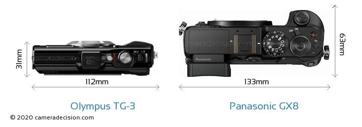 Olympus TG-3 vs Panasonic GX8 Camera Size Comparison - Top View