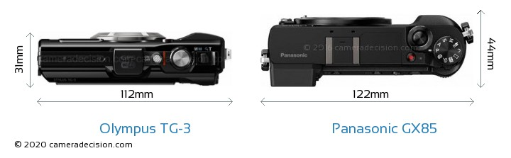 Olympus TG-3 vs Panasonic GX85 Camera Size Comparison - Top View