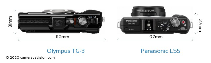 Olympus TG-3 vs Panasonic LS5 Camera Size Comparison - Top View