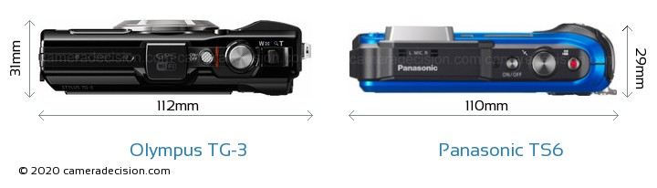 Olympus TG-3 vs Panasonic TS6 Camera Size Comparison - Top View