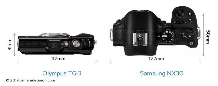 Olympus TG-3 vs Samsung NX30 Camera Size Comparison - Top View