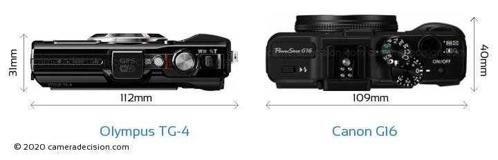 Olympus TG-4 vs Canon G16 Camera Size Comparison - Top View