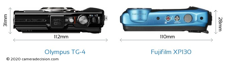 Olympus TG-4 vs Fujifilm XP130 Camera Size Comparison - Top View