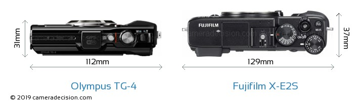 Olympus TG-4 vs Fujifilm X-E2S Camera Size Comparison - Top View