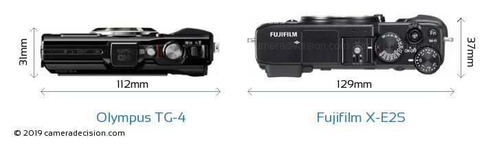 Olympus TG-4 vs Fujifilm X-E2S Camera Size Comparison - Top View