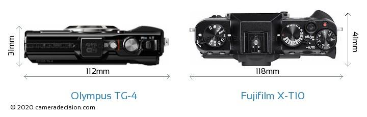 Olympus TG-4 vs Fujifilm X-T10 Camera Size Comparison - Top View