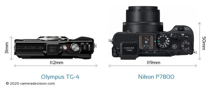 Olympus TG-4 vs Nikon P7800 Camera Size Comparison - Top View