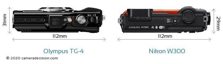 Olympus TG-4 vs Nikon W300 Camera Size Comparison - Top View