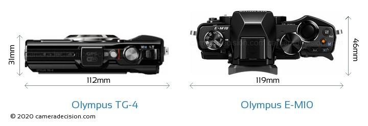 Olympus TG-4 vs Olympus E-M10 Camera Size Comparison - Top View