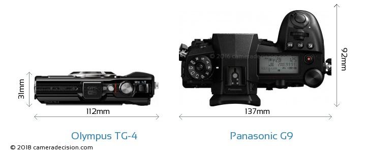 Olympus TG-4 vs Panasonic G9 Camera Size Comparison - Top View
