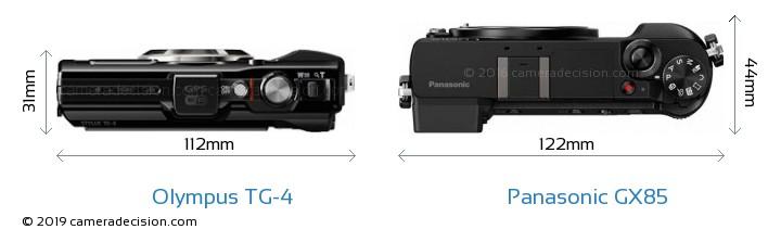 Olympus TG-4 vs Panasonic GX85 Camera Size Comparison - Top View
