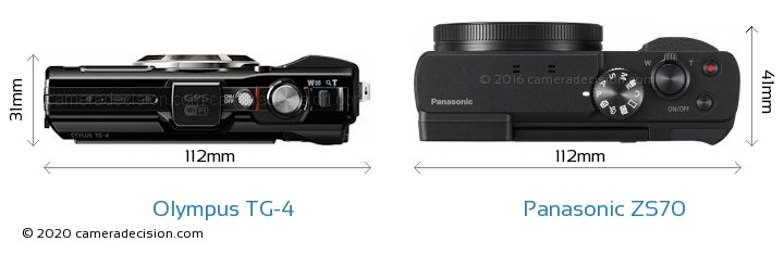 Olympus TG-4 vs Panasonic ZS70 Camera Size Comparison - Top View