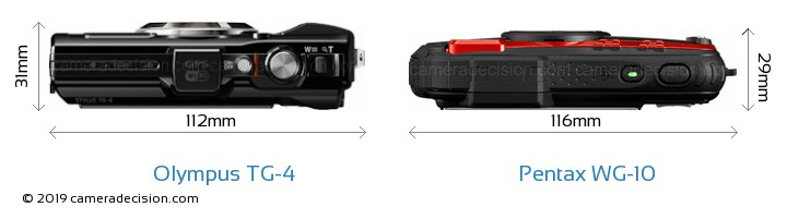 Olympus TG-4 vs Pentax WG-10 Camera Size Comparison - Top View